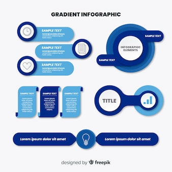 Conjunto de elementos infográfico azul