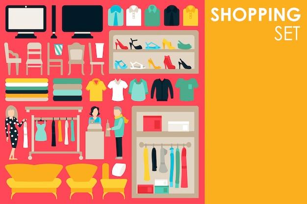Conjunto de elementos infográfico com roupas de funcionários de shopping