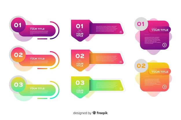 Conjunto de elementos infográfico em design plano