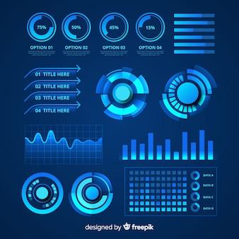 Conjunto de elementos infográfico futurista