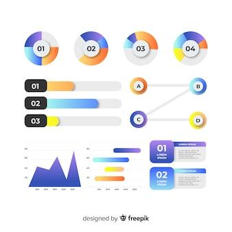 Conjunto de elementos infográfico gradiente