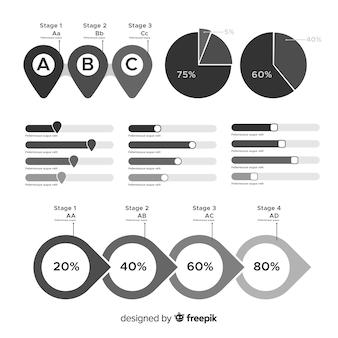Conjunto de elementos infográfico incolor