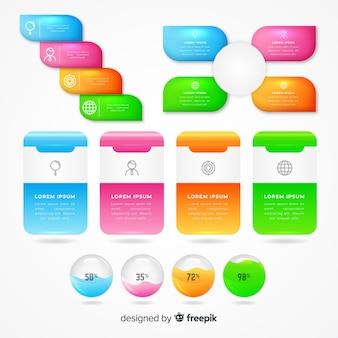 Conjunto de elementos infográfico lustroso realista