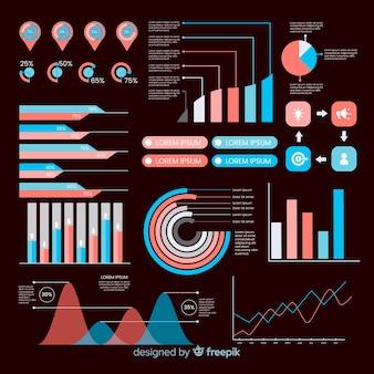 Conjunto de elementos infográfico plana