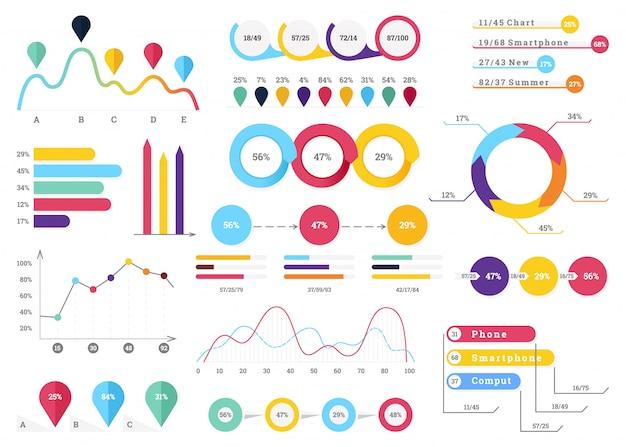 Conjunto de elementos infográficos mais úteis