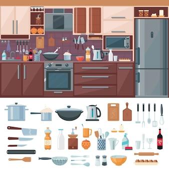 Conjunto de elementos internos de cozinha