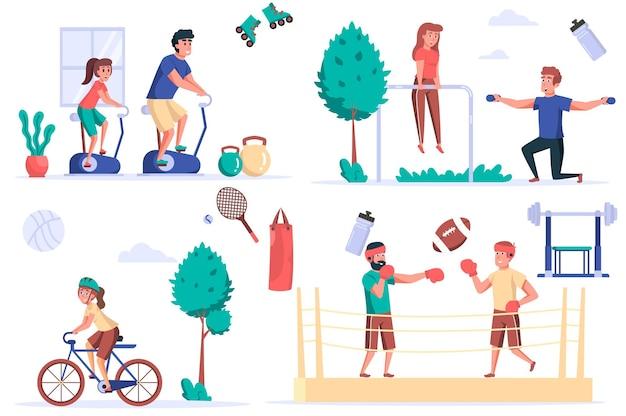 Conjunto de elementos isolados de atividade de fitness pacote de pessoas em bicicletas ergométricas fazendo