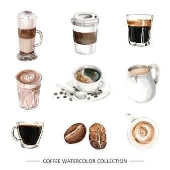 Conjunto de elementos isolados de café em aquarela