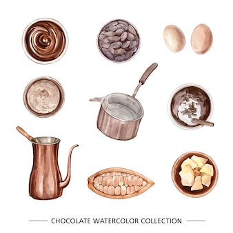 Conjunto de elementos isolados de chocolate em aquarela