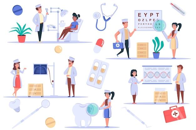 Conjunto de elementos isolados de clínica médica pacote de paciente no consultório dentista e oftalmologista