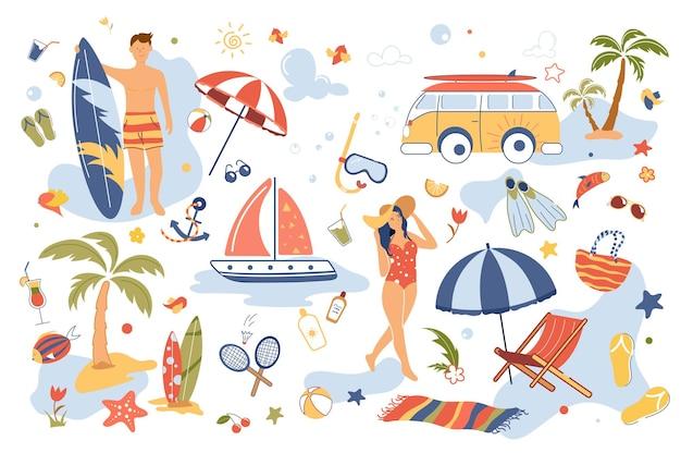 Conjunto de elementos isolados de conceito de férias de verão