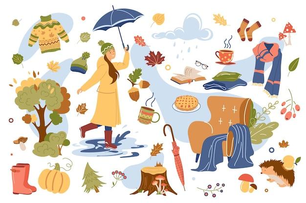 Conjunto de elementos isolados de conceito de outono
