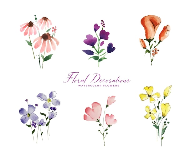 Conjunto de elementos isolados de flores em aquarela fofas