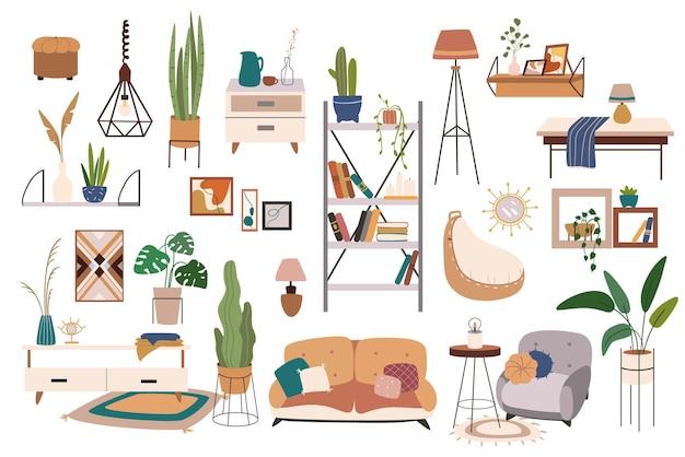Conjunto de elementos isolados de móveis e decoração para casa
