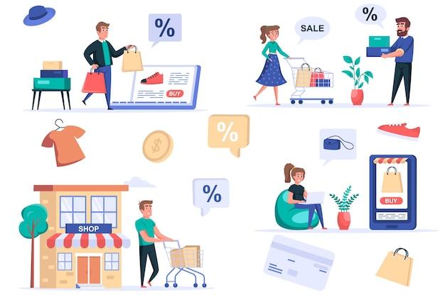 Conjunto de elementos isolados de pessoas de compras pacote de homens e mulheres que compram on-line e na loja