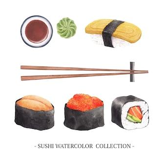 Conjunto de elementos isolados de sushi em aquarela