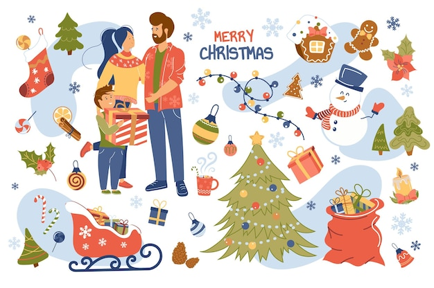 Conjunto de elementos isolados do conceito de feliz natal