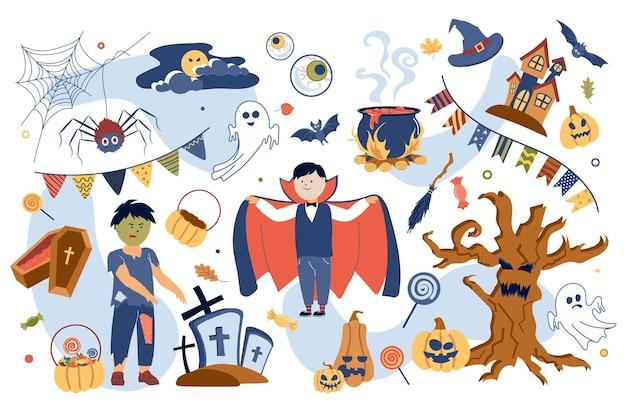 Conjunto de elementos isolados do conceito de halloween