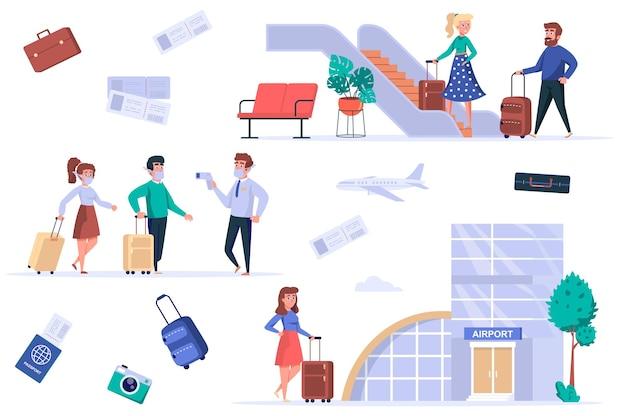 Conjunto de elementos isolados do terminal do aeroporto grupo de passageiros mascarados sob temperatura