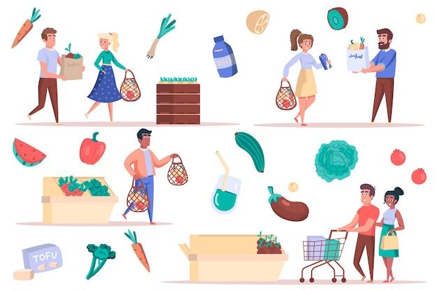 Conjunto de elementos isolados para compras de supermercado pacote de homens e mulheres com bolsas e carrinhos para comprar comida