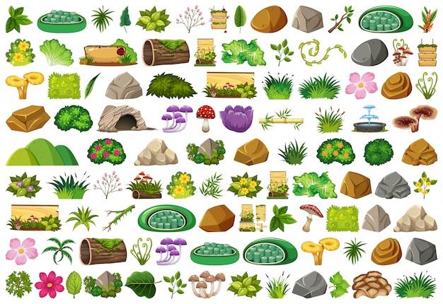 Conjunto de elementos isolados sobre jardinagem