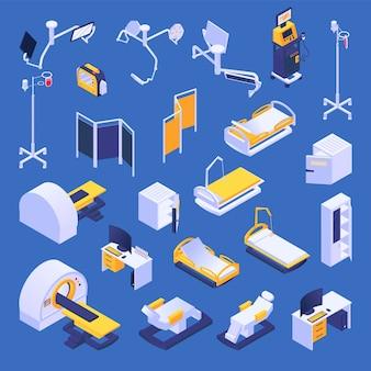 Conjunto de elementos isométrica de equipamentos médicos, hospital ou clínica de saúde.