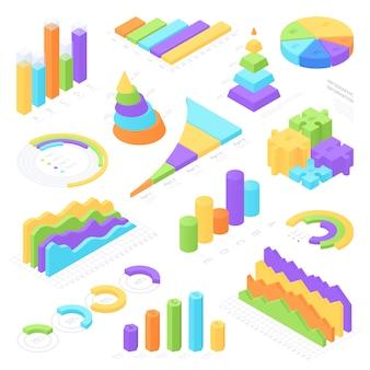 Conjunto de elementos isométrica infográfico colorido