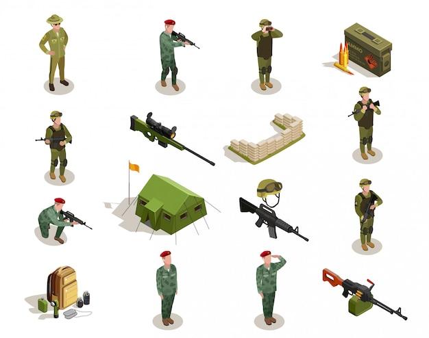 Conjunto de elementos isométrica militar do exército