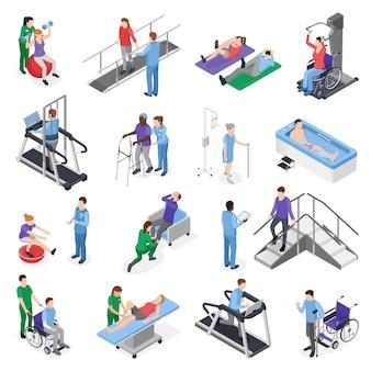 Conjunto de elementos isométricos de clínica de reabilitação fisioterapia com simuladores de equipamentos de tratamento de equipe de enfermagem recuperação de pacientes