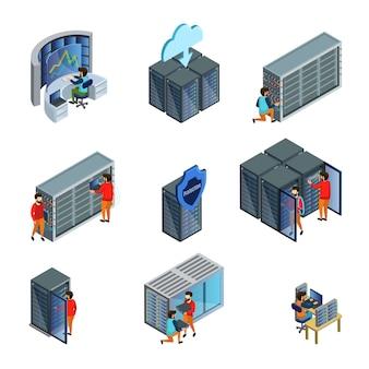 Conjunto de elementos isométricos de datacenter