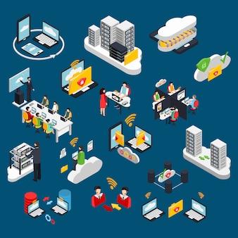 Conjunto de elementos isométricos de escritório em nuvem