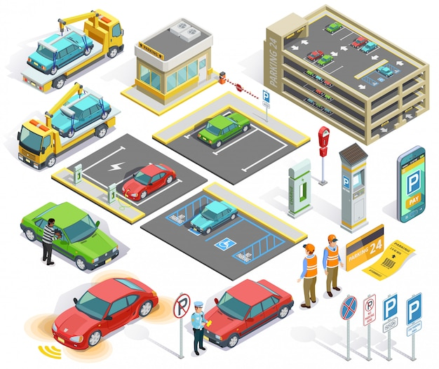 Conjunto de elementos isométricos de estacionamento