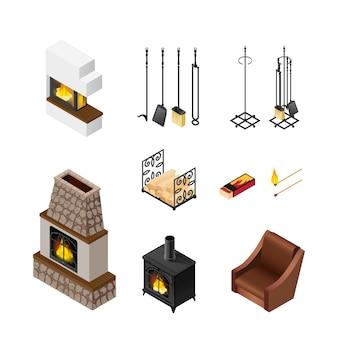 Conjunto de elementos isométricos de lareira