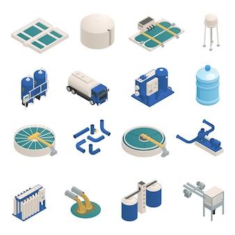 Conjunto de elementos isométricos de purificação de águas residuais