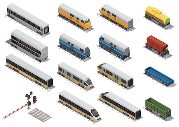 Conjunto de elementos isométricos de trem ferroviário com vagão de carga aberta de locomotiva elétrica e carro de passageiro isométrico