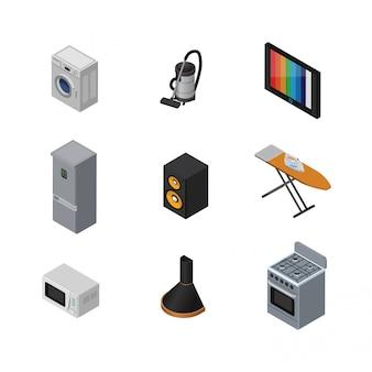 Conjunto de elementos isométricos em casa