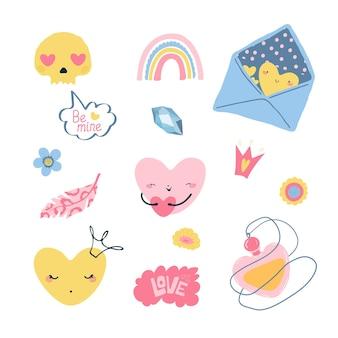 Conjunto de elementos kawaii para o dia dos namorados em estilo cartoon