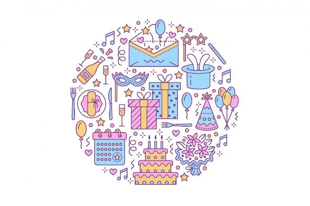 Conjunto de elementos lineares de festa de aniversário