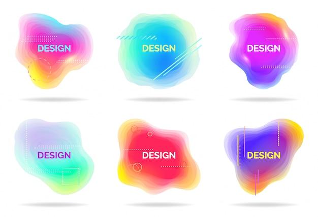 Conjunto de elementos líquidos fluindo abstratos, formas coloridas, formas geométricas dinâmicas, ondas gradientes, vetor