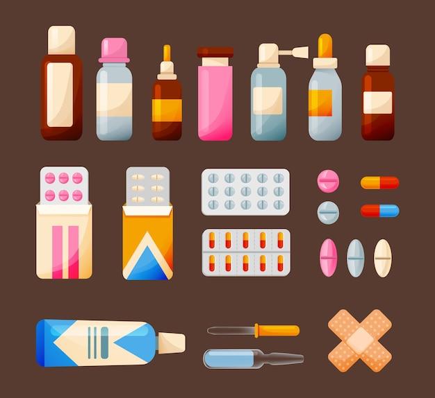 Conjunto de elementos médicos e ilustração de medicamentos isolado