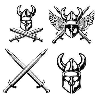 Conjunto de elementos medievais com capacete viking, espadas cruzadas.