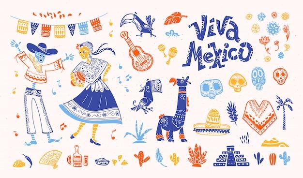Conjunto de elementos mexicanos na mão desenhada estilo