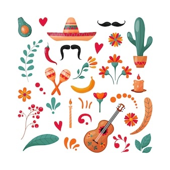 Conjunto de elementos mexicanos.