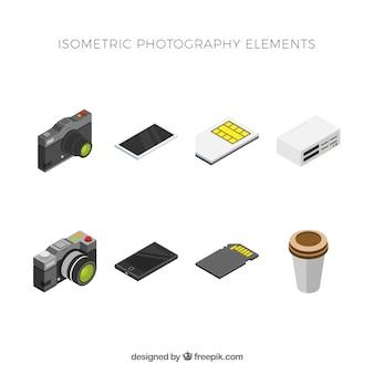 Conjunto de elementos modernos com vista isométrica