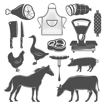 Conjunto de elementos monocromáticos de açougue