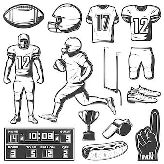 Conjunto de elementos monocromáticos de futebol americano com comida de troféu de jogadores de roupas e equipamentos esportivos