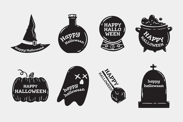 Conjunto de elementos monocromáticos de halloween desenhados à mão