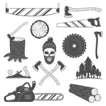 Conjunto de elementos monocromáticos de lenhador com ferramentas de trabalho floresta de abetos vermelhos de madeira