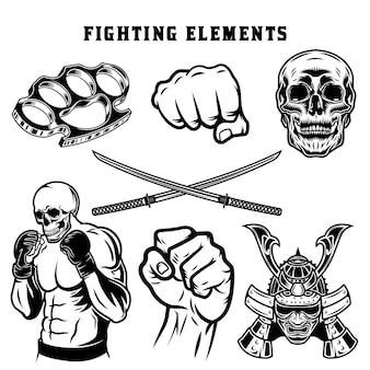 Conjunto de elementos monocromáticos de luta de mma Vetor Premium