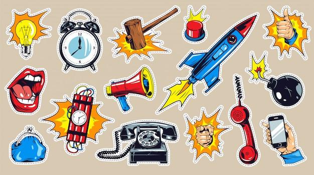Conjunto de elementos monocromáticos em quadrinhos